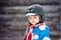 Little boy portrait with helmet at winter holiday Royalty Free Stock Photo