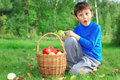 Little boy posing with apples Stock Photo