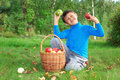 Little boy posing with apples Royalty Free Stock Image
