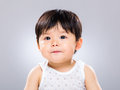 Little boy pout lip with gray background Stock Images