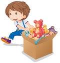 Little boy pulling box of teddy bears