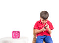 Little boy is punishing on time out at home Royalty Free Stock Photo