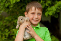 The little boy with a rabbit in the hands Royalty Free Stock Photo