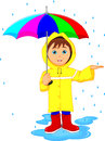 Little boy in rain with umbrella