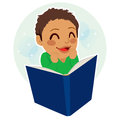 Little boy reading multiethnic mixed race happy enjoying a book Royalty Free Stock Photography