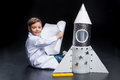 Little boy with rocket Royalty Free Stock Photo