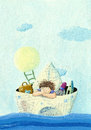 Little boy sailing in a paper boat acrylic illustration of Royalty Free Stock Image