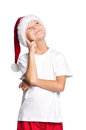 Little boy in Santa hat Stock Images