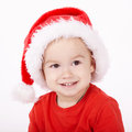 Little boy with santa hat cute Royalty Free Stock Images