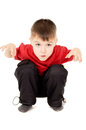 The little boy screaming and writhe a face Royalty Free Stock Photos
