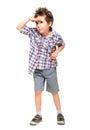 Little boy seeking with visor hand Royalty Free Stock Photo