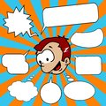Little boy with set of speech bubbles Royalty Free Stock Photos