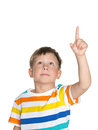 Little boy showing his finger up portrait of a on the white background Stock Photos