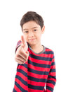 Little boy showing his thump up on white background Royalty Free Stock Photos
