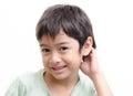 Little boy shy face portraiton white background Royalty Free Stock Photo