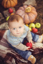 Little boy sitting outdoors in the village pumpkins and apples around kid is enjoying life countryside Royalty Free Stock Photos