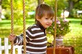 Little boy sitting on a swing in the autumn park Royalty Free Stock Photo