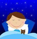 Little boy sleep under blanket with toy bruin vector illustration Royalty Free Stock Photo