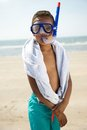 Little boy with snorkel portrait of a equipment by the beach Stock Photography