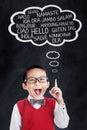 Little boy speaks in different languages