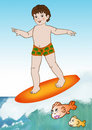 Little boy surfer Stock Photography