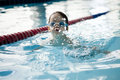Little boy swimmer in a butterfly stroke Stock Photo