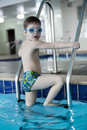 Little boy swimmer in the pool Stock Photography