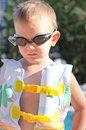 Little boy in swimming goggles on a hot summer day Stock Photography