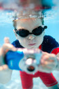 Little boy swimming underwater Stock Photography