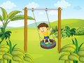 A little boy swinging illustration of Stock Photo