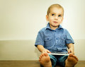 Little boy with tablet computer in the hands of Royalty Free Stock Photo