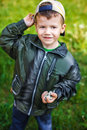 Little boy throw gravel active years outdoor Royalty Free Stock Photos