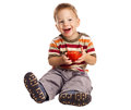 Little boy with tomato Royalty Free Stock Photo