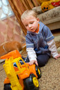Little boy with toy truck Royalty Free Stock Images