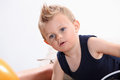 Little boy with a tuft. Royalty Free Stock Photo