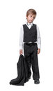 Little boy in a tuxedo isolate on white background Stock Photo