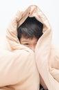 Little boy under blanket Royalty Free Stock Photo
