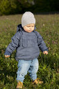 Little boy walks through the grass outdoor Royalty Free Stock Image