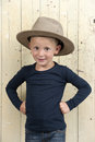 Little boy wiht cowboy hat Stock Photos