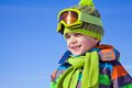 Little boy in winter resort portrait of clothes outdoor wintertime Stock Photo