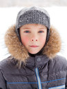 Little boy at wintertime with warm coat Stock Image