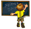 The little boy writes mother's day greetings Royalty Free Stock Photos