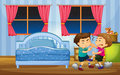 Little boys fighting in bedroom Royalty Free Stock Photo