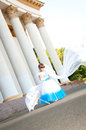 Little bride girl lush white blue wedding dress veil Royalty Free Stock Photos