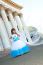 Little bride girl lush white blue wedding dress veil Stock Images