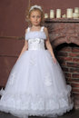 Little bride girl in wedding dress Royalty Free Stock Photos