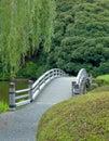 A little bridge in green, japanese garden in Tokyo Royalty Free Stock Photo