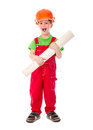 Little builder standing with paper plan in hands Royalty Free Stock Photo