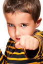 Little bully with black eye attack Royalty Free Stock Images