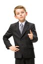 Little business man pointing finger gestures half length portrait of manager gesturing isolated on white concept of leadership and Stock Photos